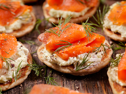 Smoked Salmon Canapes with Avocado Cream Cheese and Fresh Dill  -Photographed on Hasselblad H3D2-39mb Camera