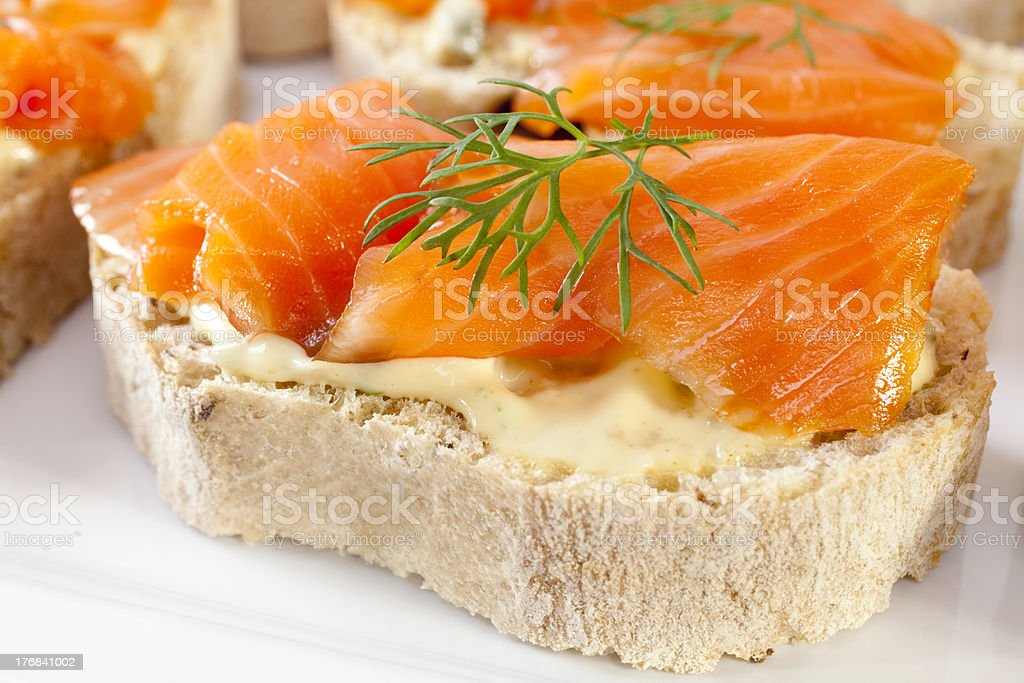 Smoked Salmon Bruschetta royalty-free stock photo
