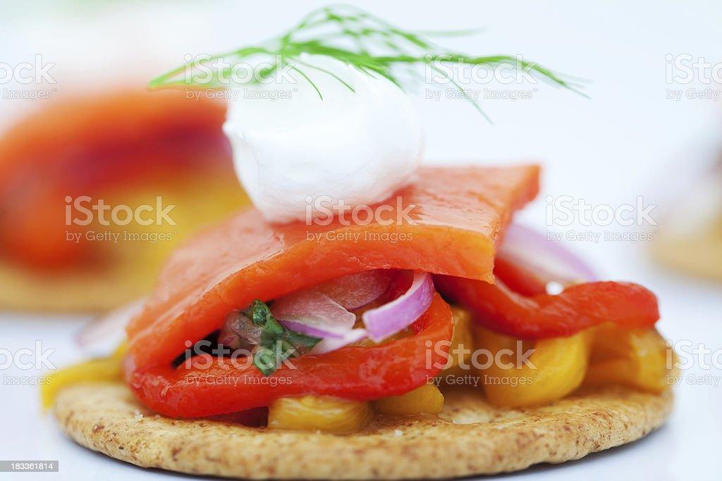 Smoked Salmon Canape royalty-free stock photo