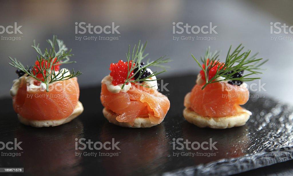 Smoked salmon canapés stock photo
