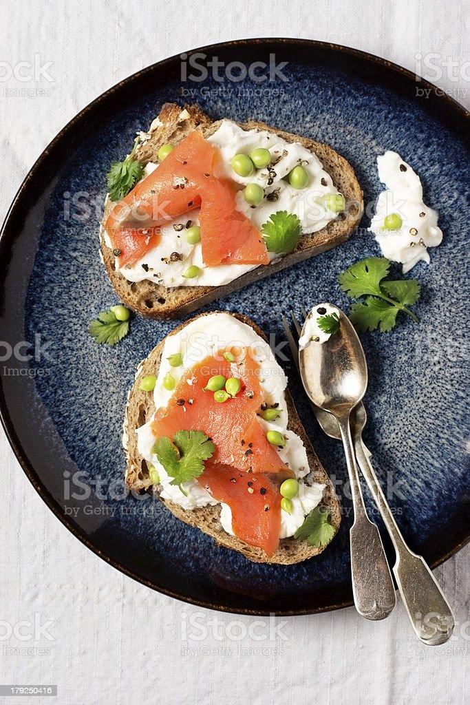 Smoked Salmon Crostini stock photo