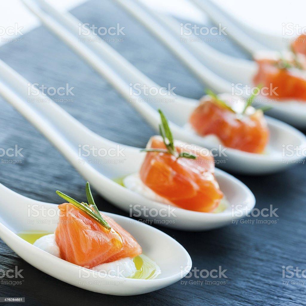 Smoked salmon delicatessen. stock photo
