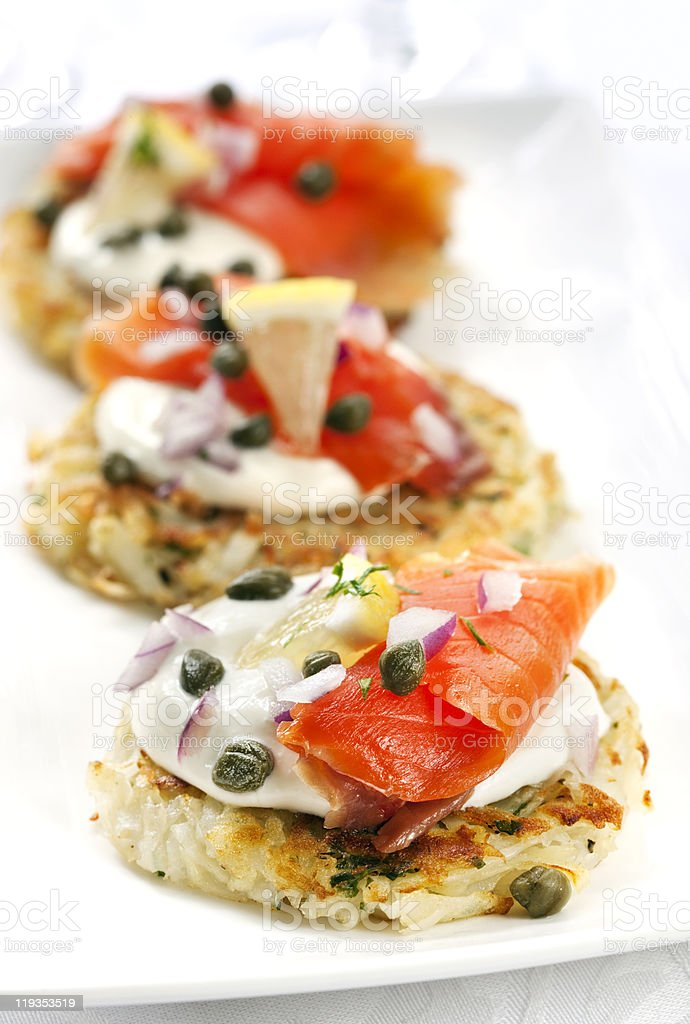 Smoked Salmon Latkes stock photo