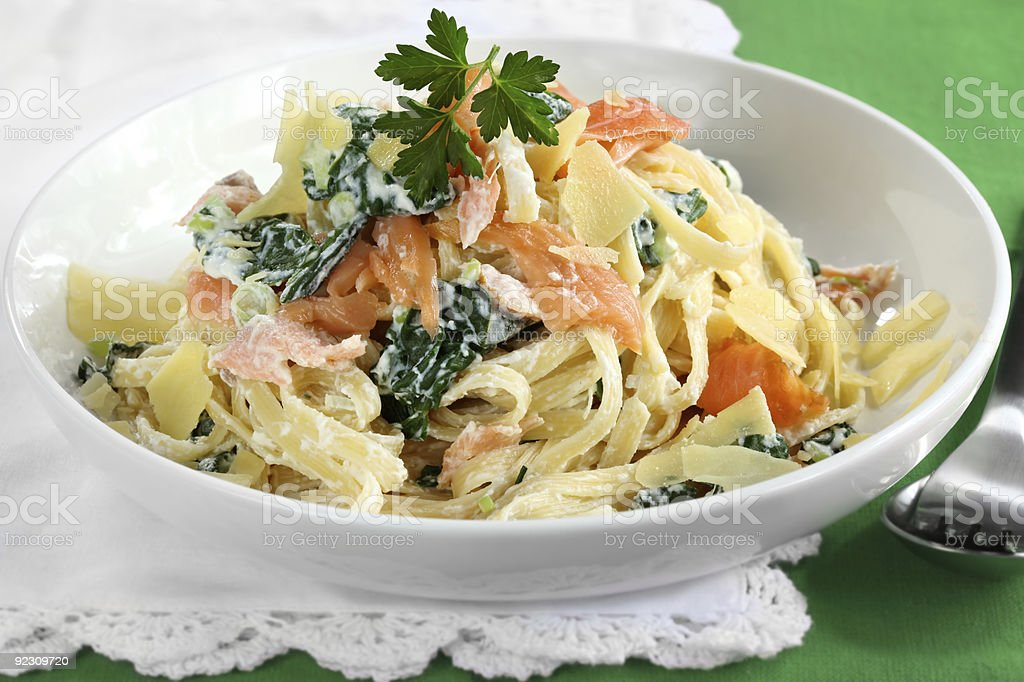 Smoked Salmon Linguine stock photo