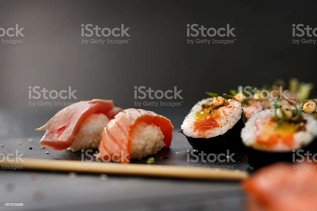 Smoked salmon nigiri sushi. stock photo
