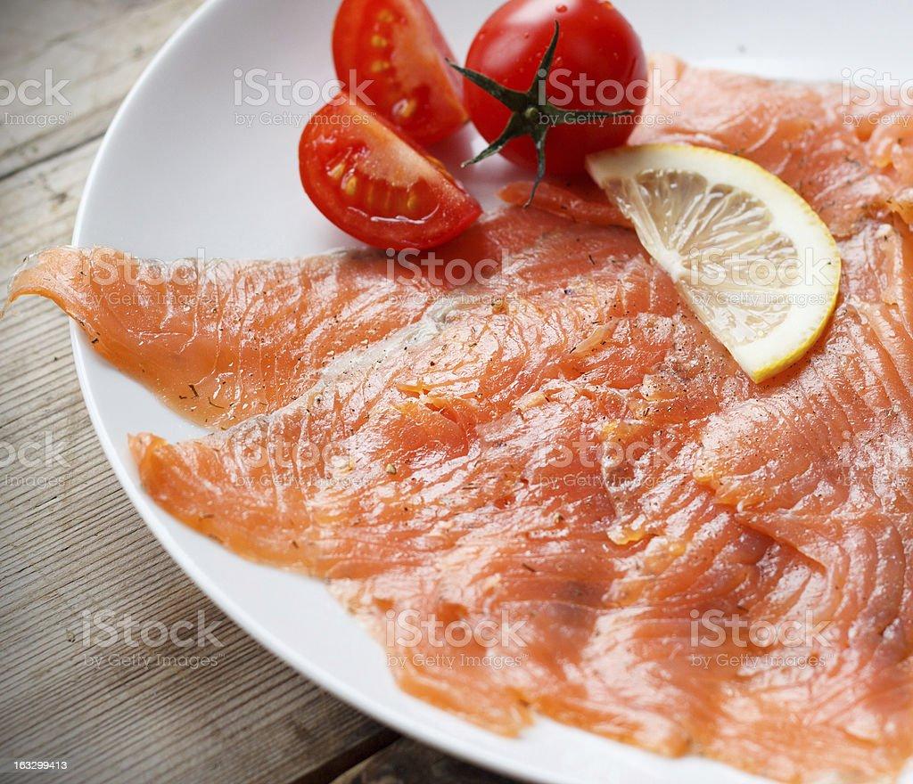 Smoked Salmon on plate royalty-free stock photo