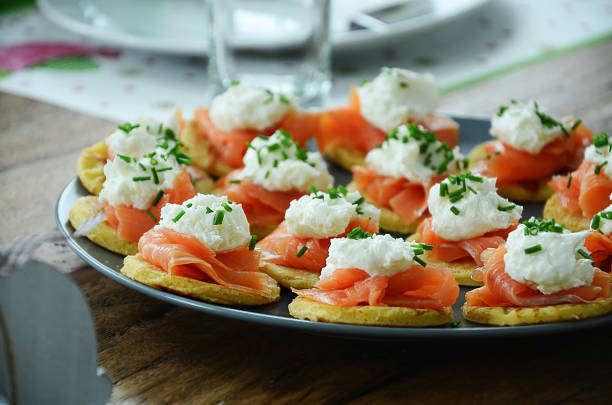 Smoked salmon on small pancakes with horseradish cream Smoked salmon on small pancakes with horseradish cream horseradish stock pictures, royalty-free photos & images