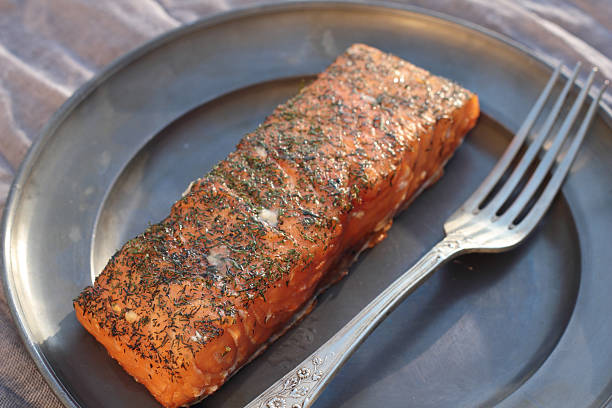 Smoked salmon. stock photo