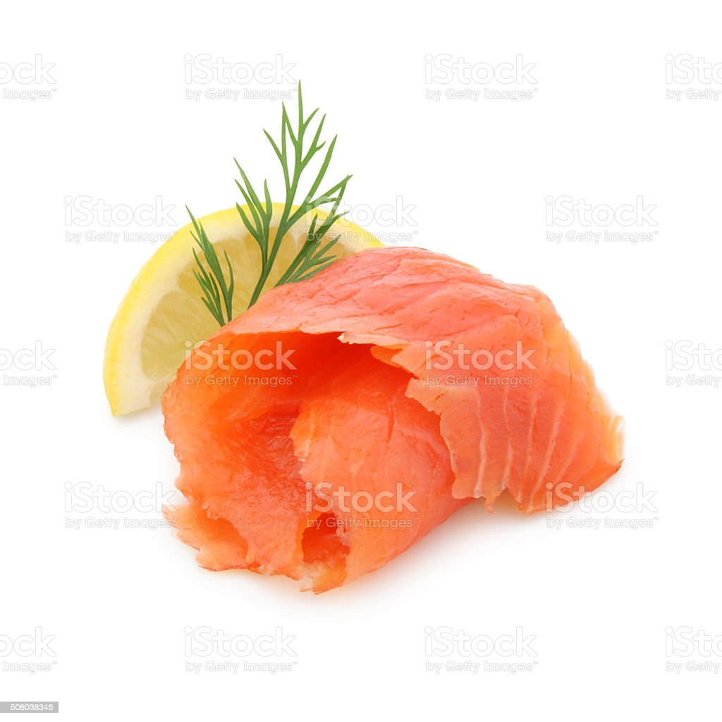 Smoked Salmon (with path) stock photo