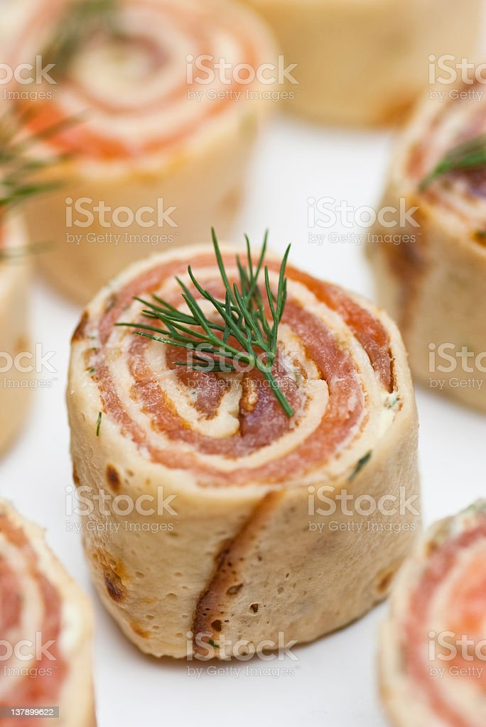 Smoked salmon roulade canape stock photo istock for Smoked salmon roulade canape