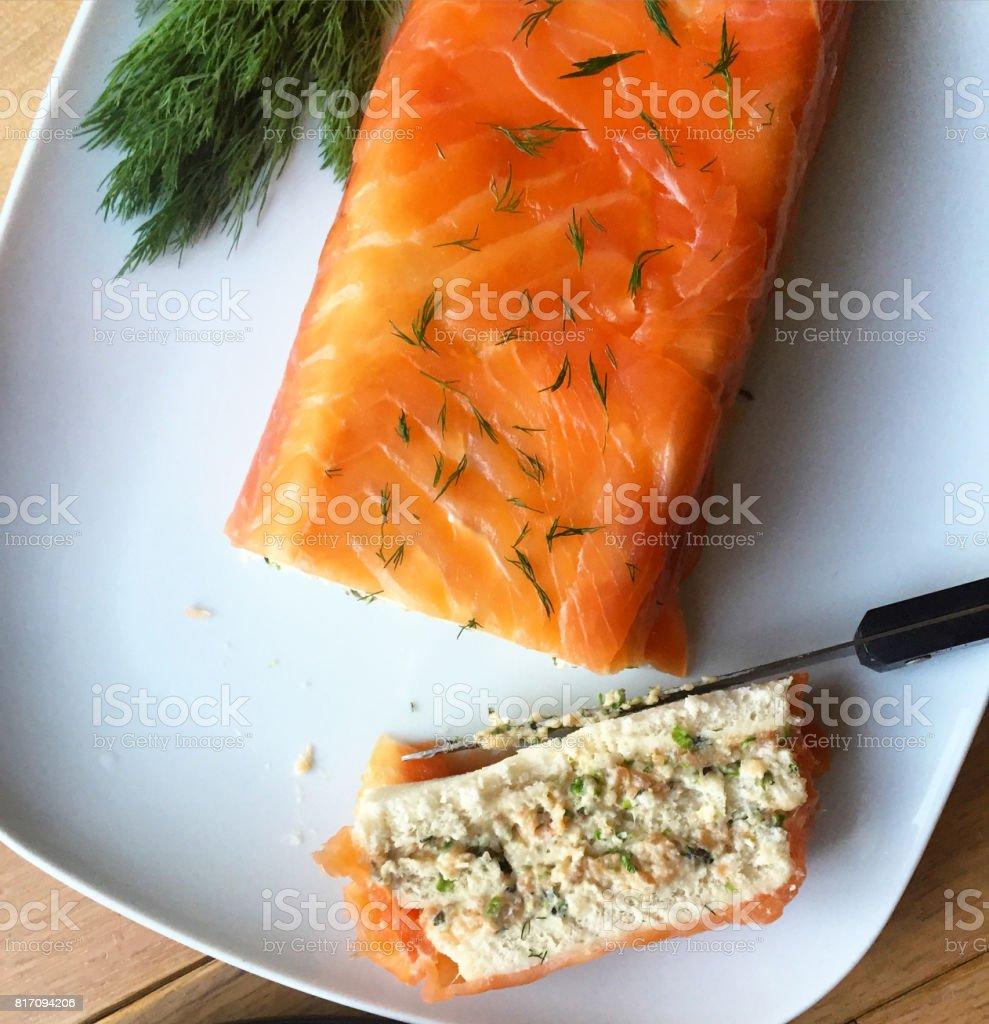 Smoked salmon sandwich cake. stock photo
