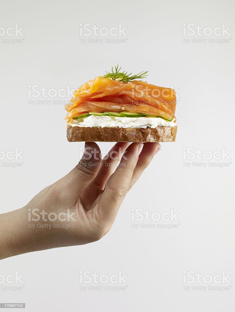 Smoked Salmon Sandwich royalty-free stock photo