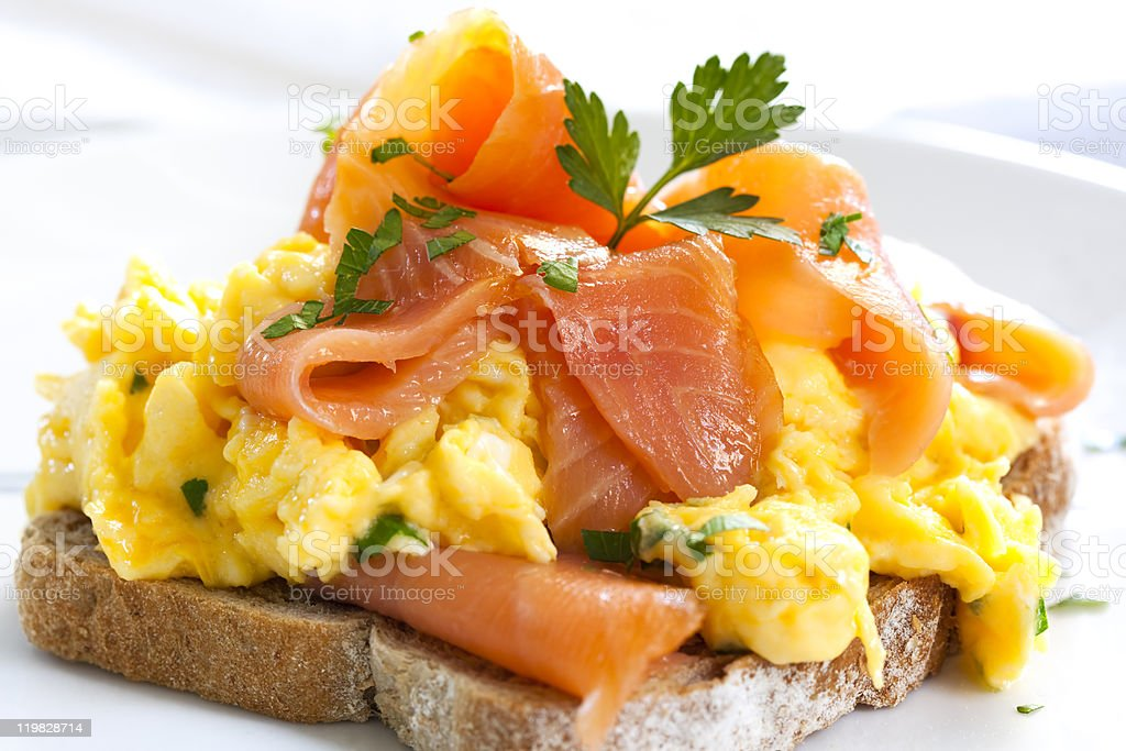 Smoked Salmon Scrambled Eggs stock photo