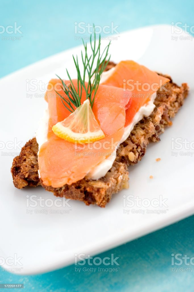 Smoked Salmon Snack royalty-free stock photo