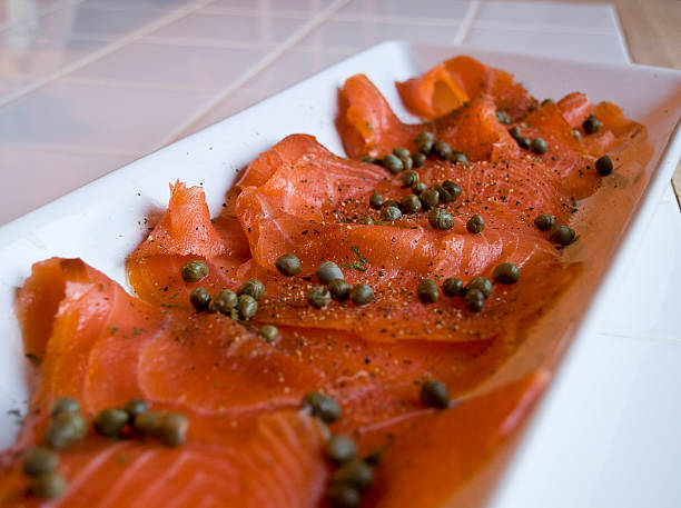 Smoked Salmon with Capers stock photo