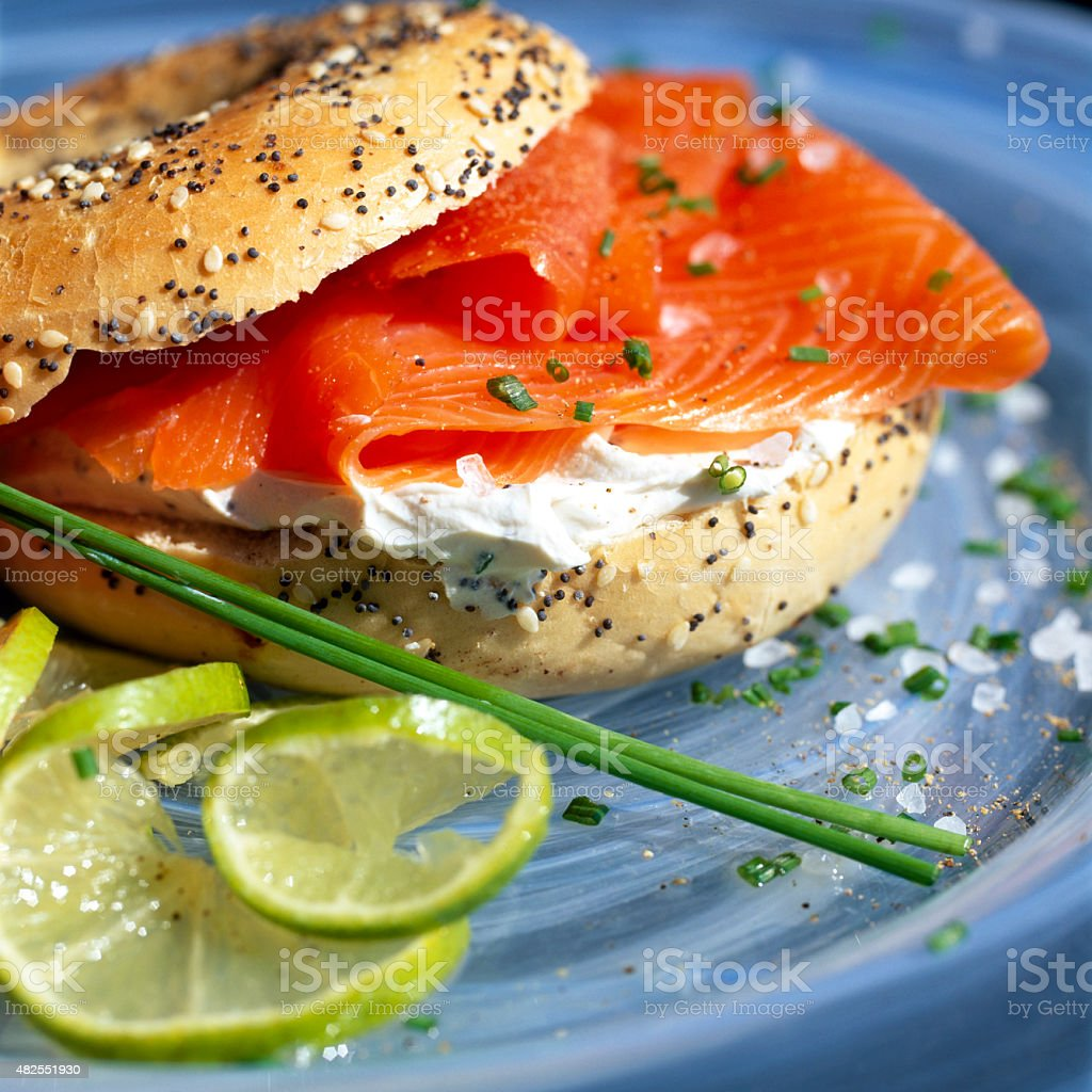 Smoked Salmon with Cream Cheese In a Seeded Bagel stock photo