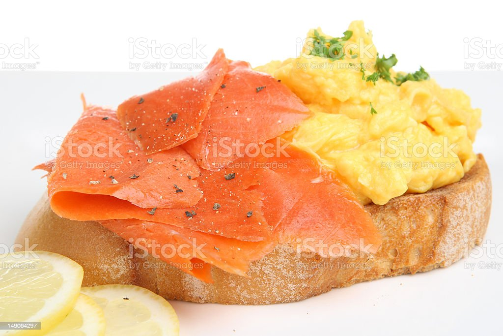 Smoked Salmon with Scrambled Eggs royalty-free stock photo