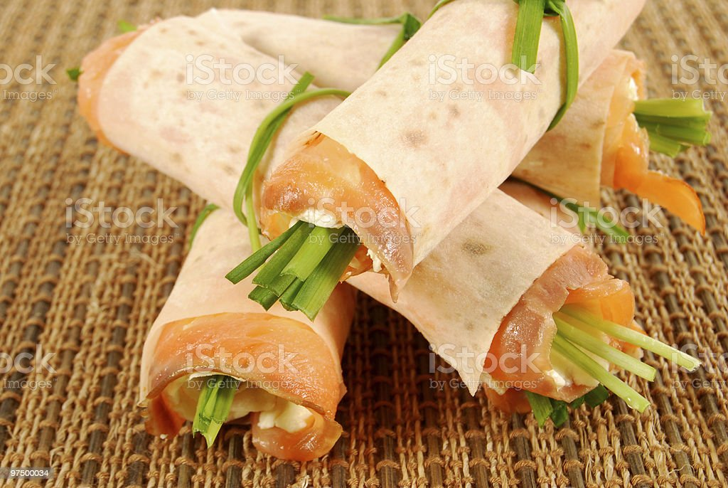 Smoked salmon wrap sandwiches royalty-free stock photo