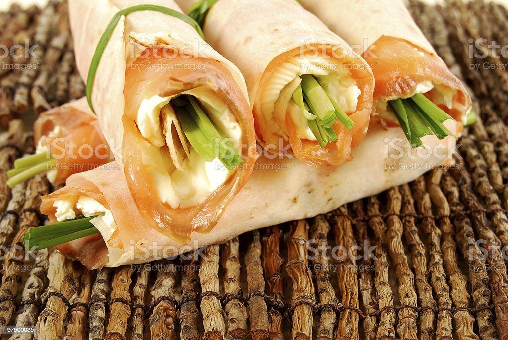 Smoked salmon wrap sandwiches royalty-free stock photo
