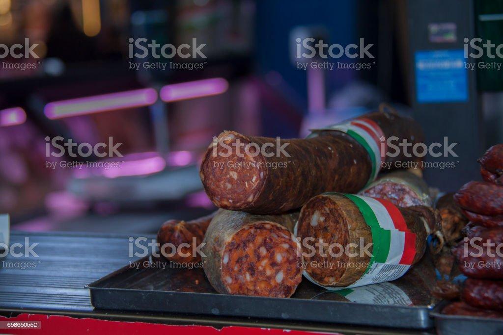 Smoked sausage and salami stock photo