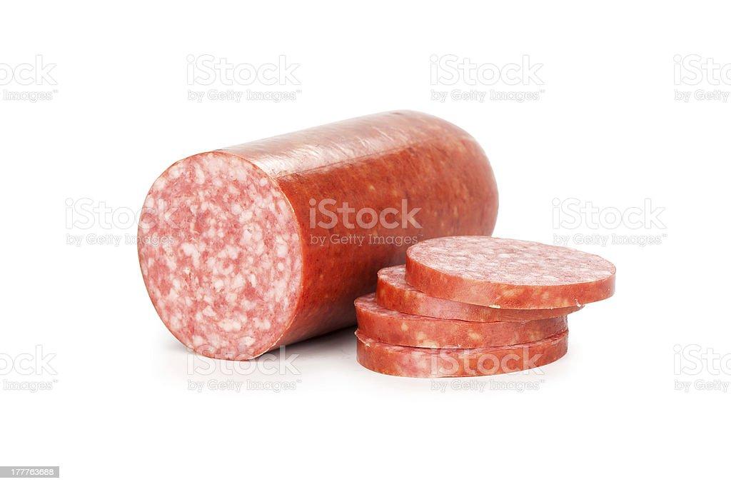 Smoked sausage isolated on white stock photo