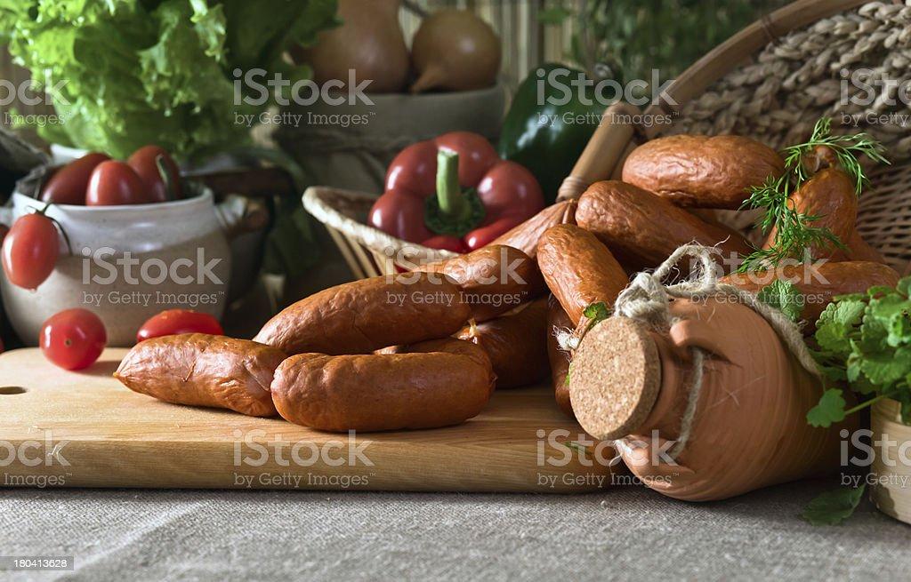 smoked sausage royalty-free stock photo
