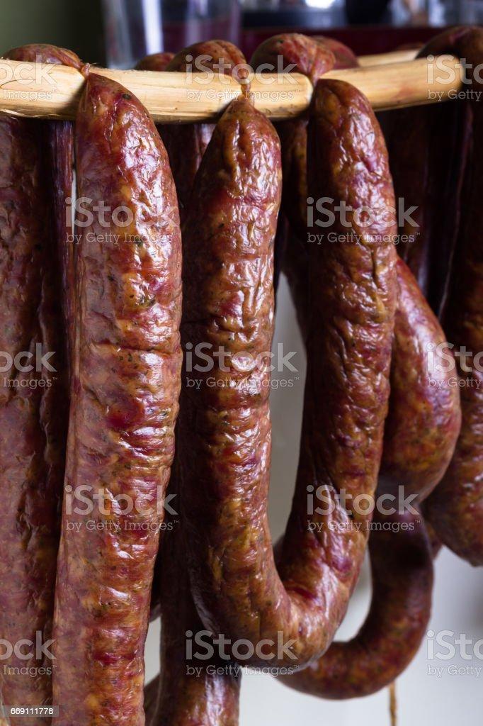 Smoked sausage. stock photo