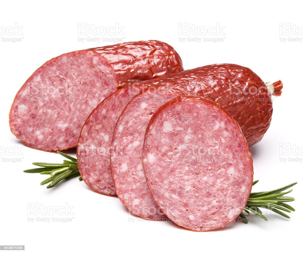Smoked sausage salami isolated on white background cutout stock photo