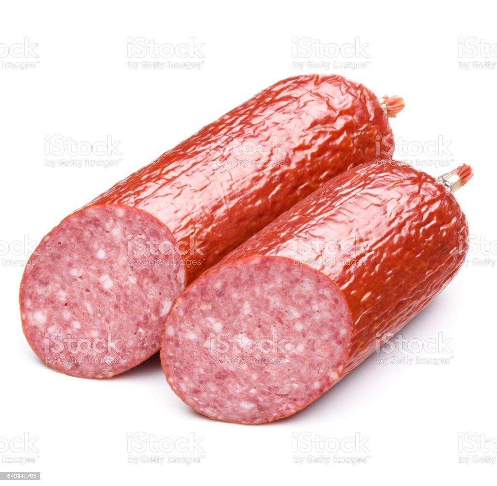 Smoked sausage salami isolated on white background cutout stock photo