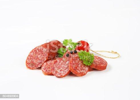 Slices of smoked sausage salami