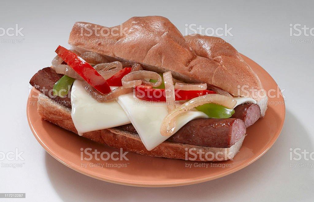 Smoked Sausage Sandwich stock photo