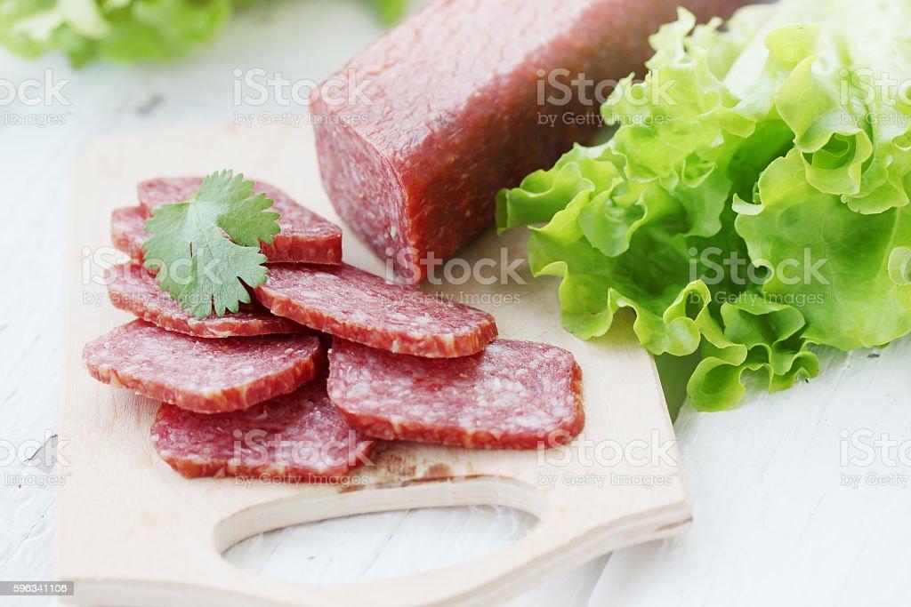 smoked sausage with cilantro royalty-free stock photo