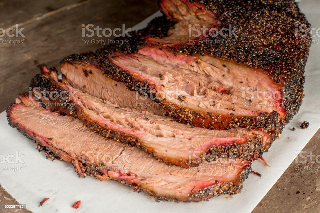 Smoked Sliced Brisket stock photo