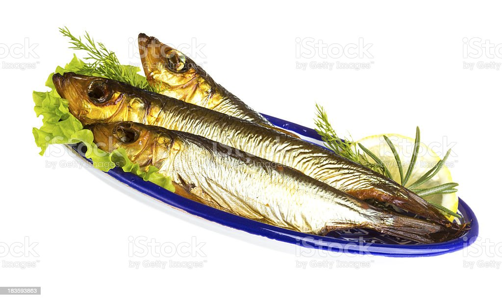 Smoked sprat - appetizing snack royalty-free stock photo