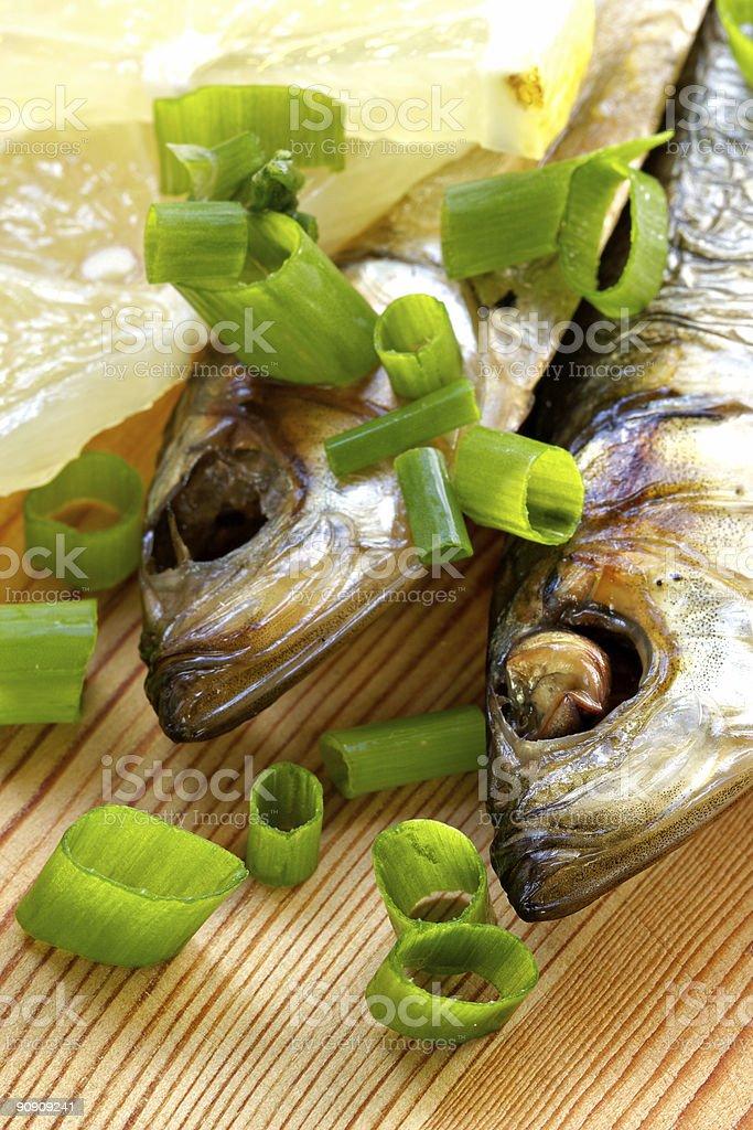 Smoked sprat-appetizing snack stock photo