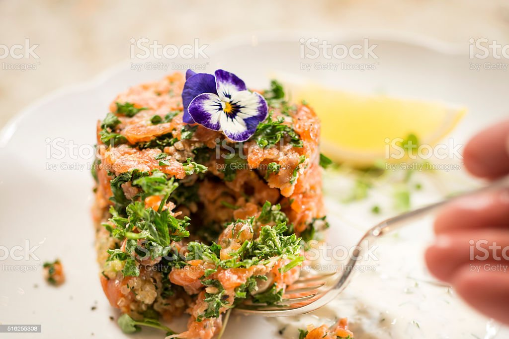 Smoked Trout Gournet Plate wtih lemon and dill Sour Cream stock photo