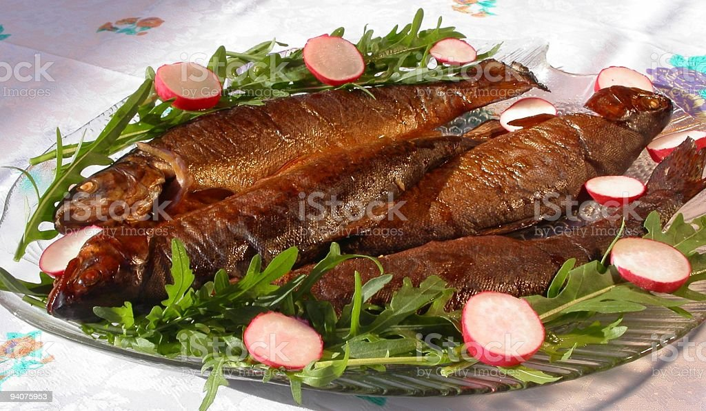 Smoked Trouts stock photo