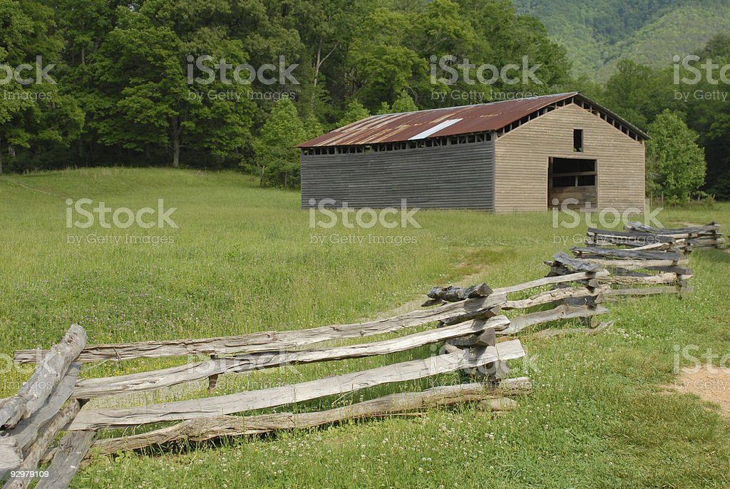 Smokehouse and fence at Dan Lawson Place stock photo