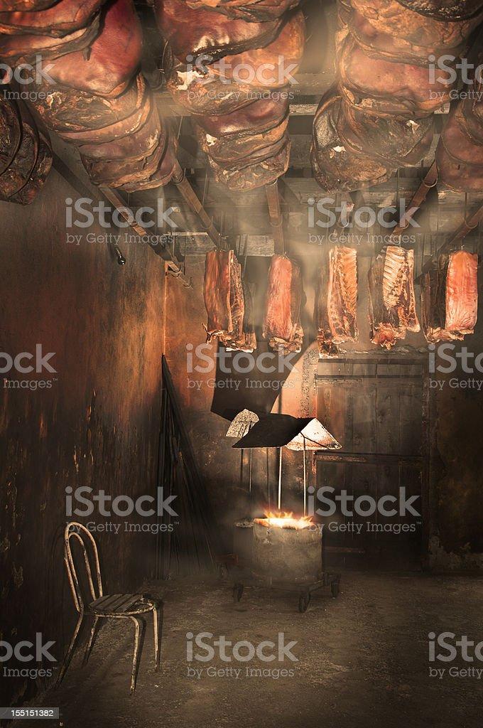 Smokehouse stock photo