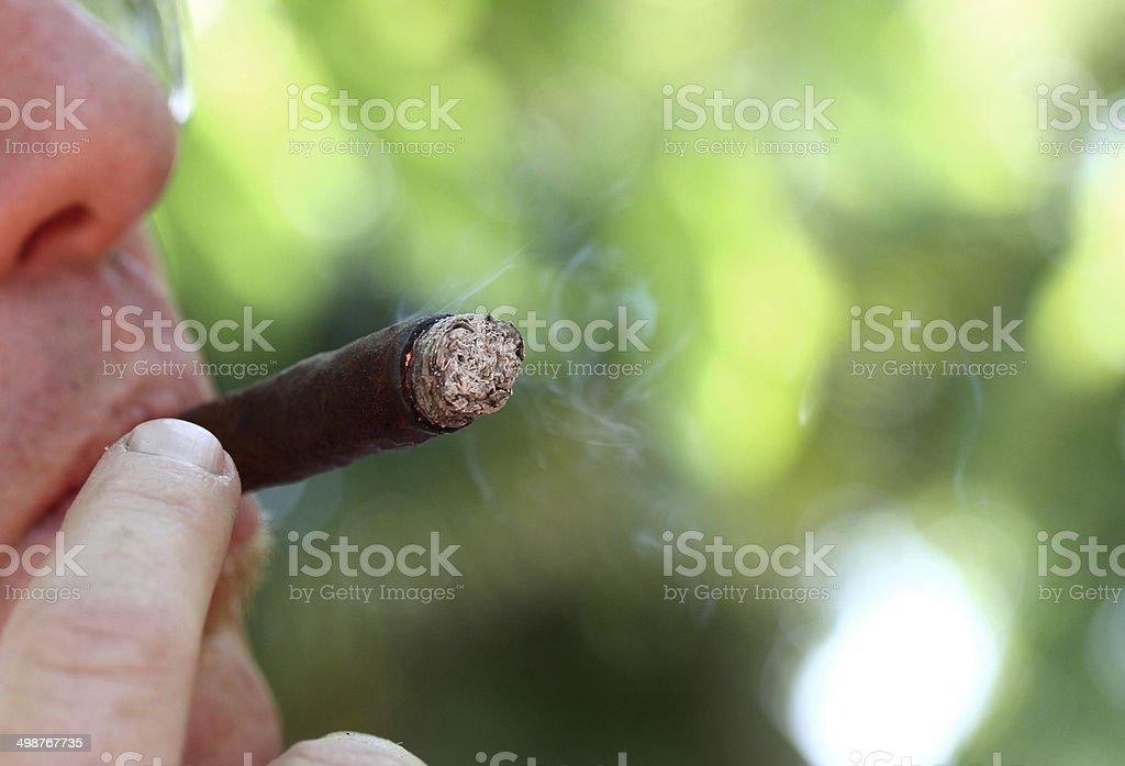 smoker while smoking the Cuban cigar and white smoke 6 stock photo