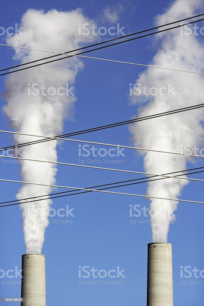 Smokestack Emission Electrical Power Line stock photo