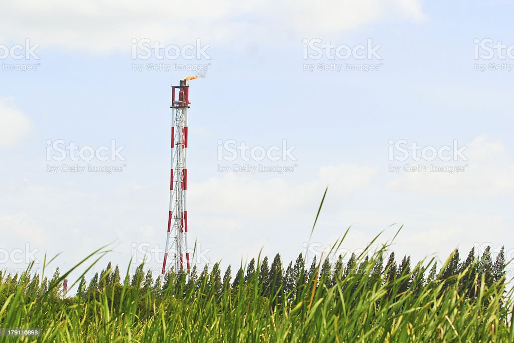 Smokestack of Petrochemical industry royalty-free stock photo