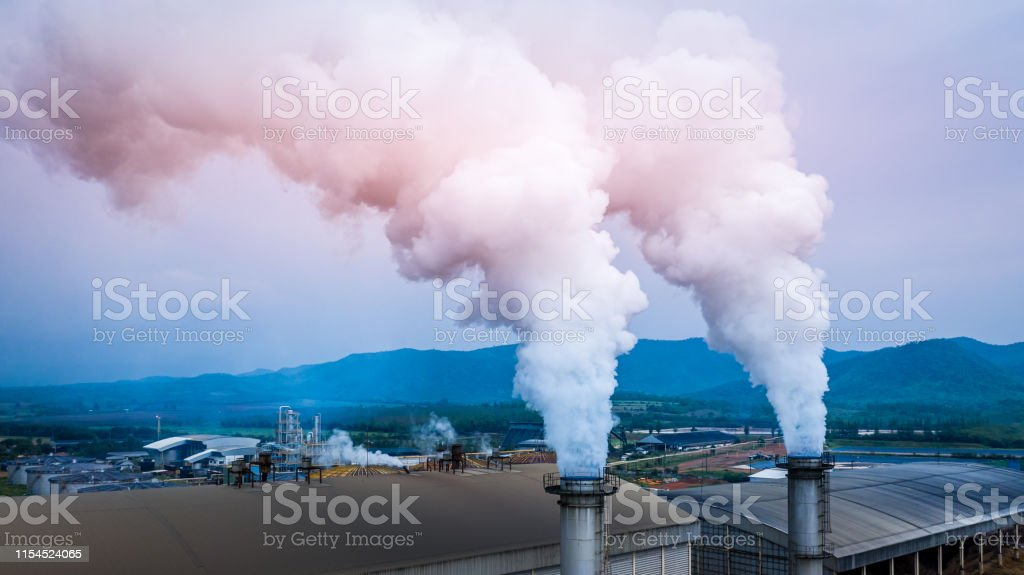 Smokestack pipe factory pollution in the city, Fuel Power Plant...