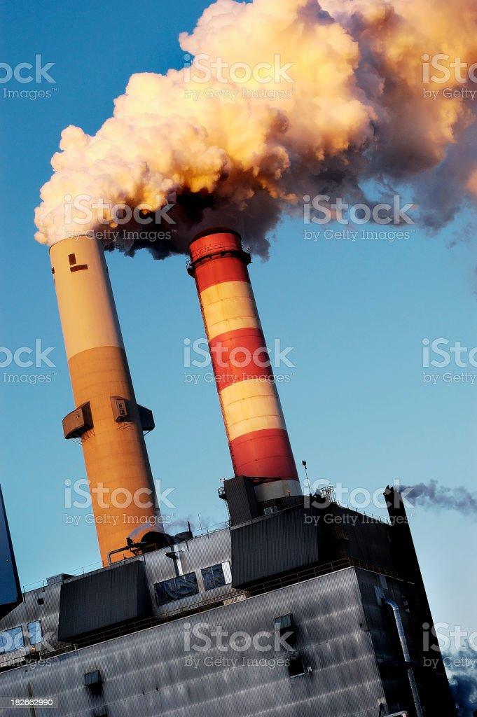 smokestacks belching royalty-free stock photo