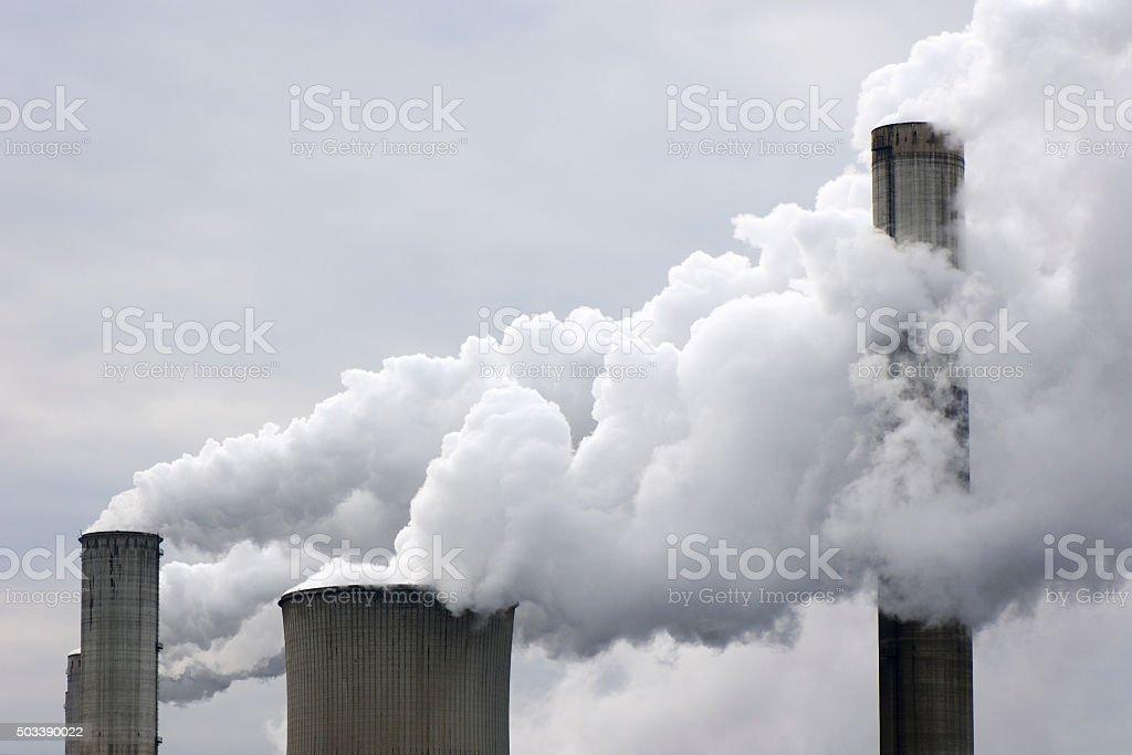 Smokestacks with pollution stock photo