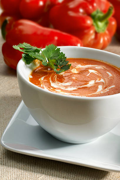 Smokey Red Bell Pepper Soup stock photo