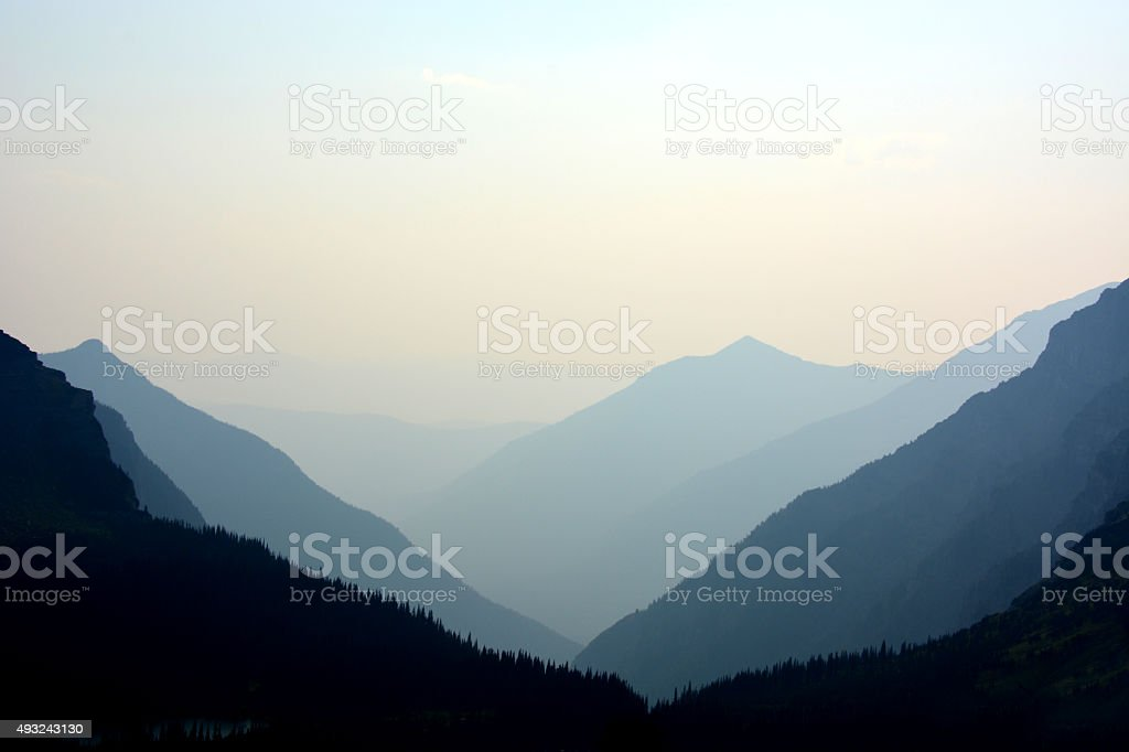 Smokey Sky with Mountians stock photo
