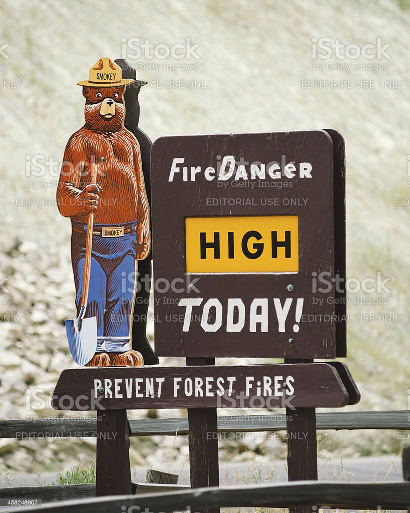 Smokey the Bear Fire Prevention Sign stock photo