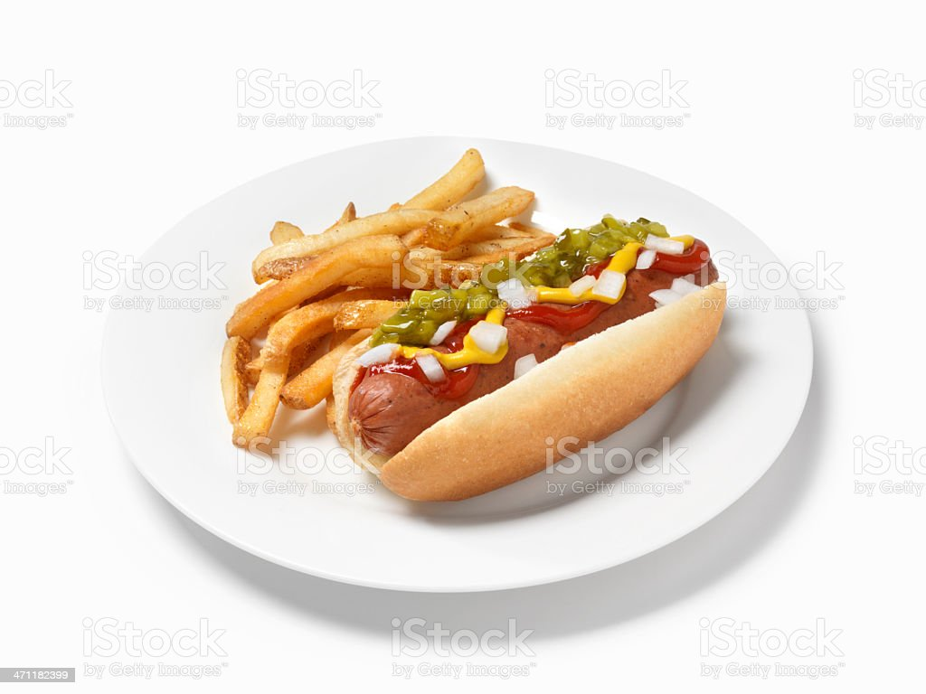 Smokie with Fries royalty-free stock photo