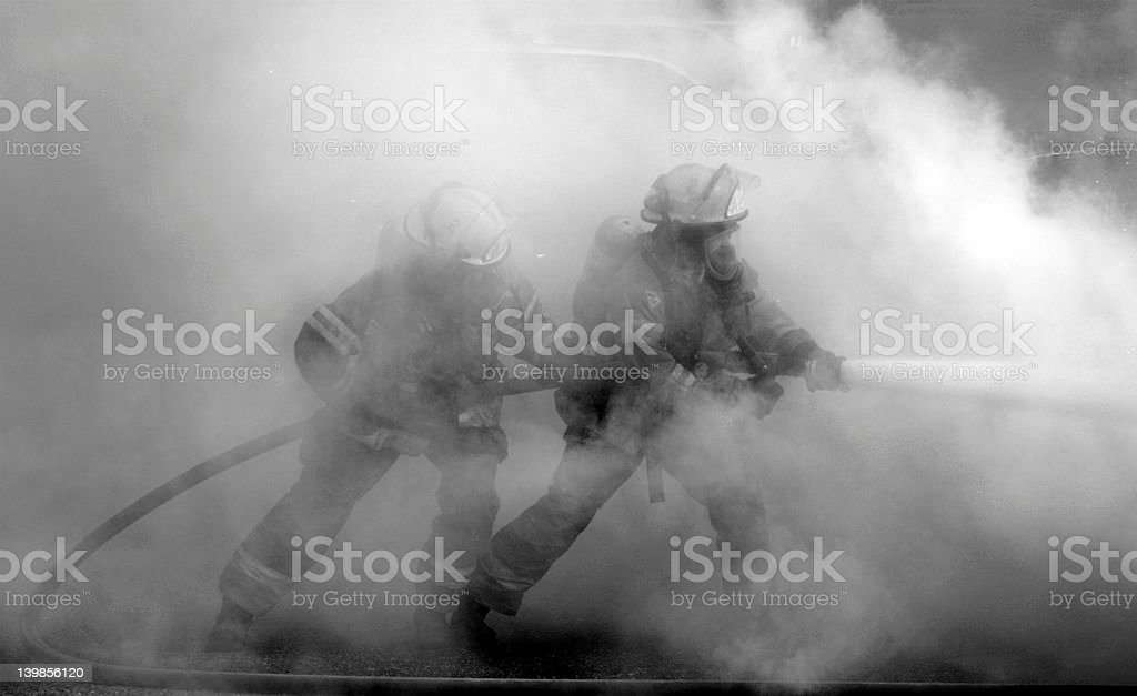 Smokin' Firemen stock photo